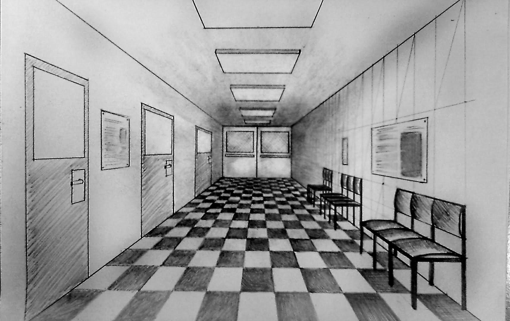 school hallway drawing - HD1716×1080